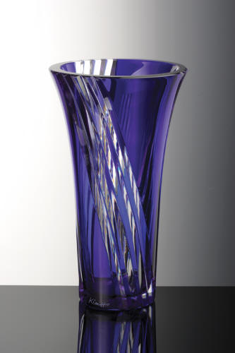 Daum Crystal Daisy Medium Vase Blue - The Addison Collection: A