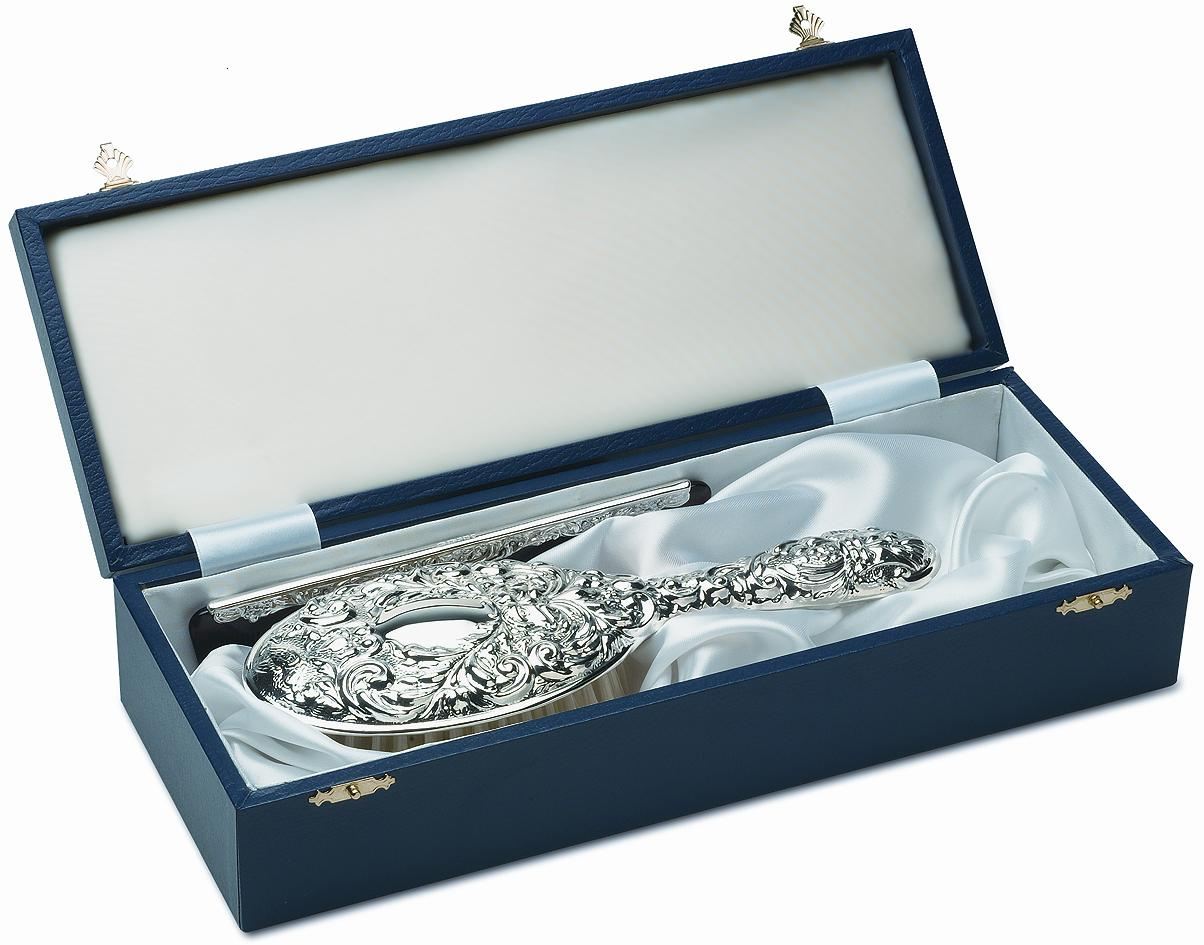 Sterling Silver Gifts for Ladies - handmade dressing table set in embossed sterling silver